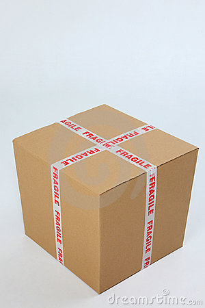 Box with fragile sign