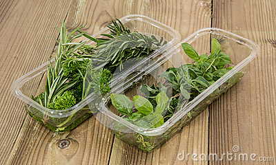 Box with fresh Herbs