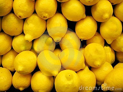 Box of fresh lemons