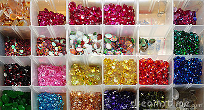 A box of gemstones