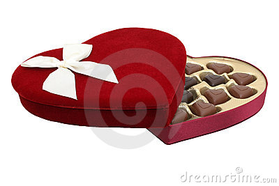 Box of Heart Shaped Chocolates with Clipping Path (8.2mp Image)