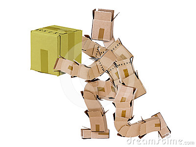 Box man kneeling and giving a gift