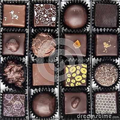 Free Box Of Various Chocolate Pralines Stock Photo - 28700440