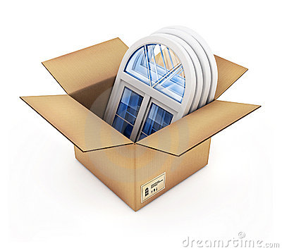 Box with plastic windows