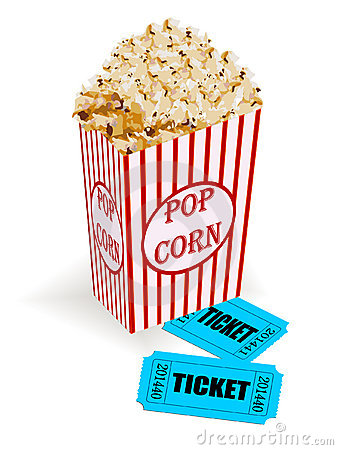 Box With Popcorn And Movie Tickets Stock Photography