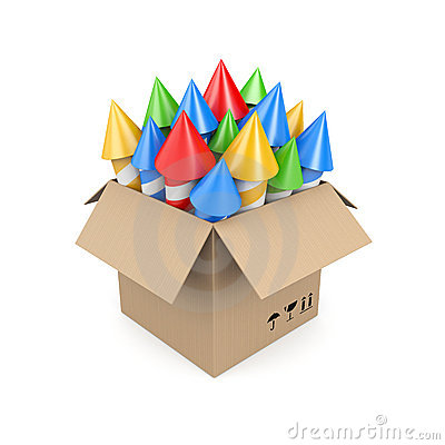 Box with rockets. Image contain clipping path