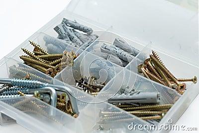 Box with screws