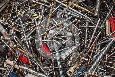 Box of screws, nails and bolts