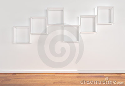 Box Shelves on white wall
