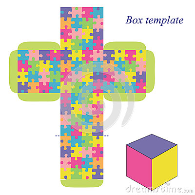 Free Box Template With Puzzle Pattern Stock Images - 47738814