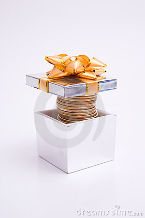 Free Box To Gift And Coin Stock Photos - 6006943