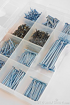 Box of various sizes of nails.