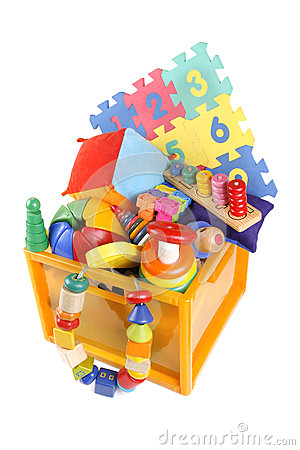 Free Box With Many Toys Royalty Free Stock Photos - 35021318