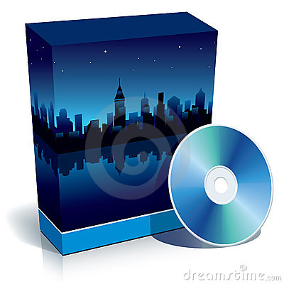 Free Box With Modern City At Night And CD Royalty Free Stock Image - 5813466