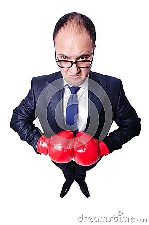 Boxeador joven del hombre de negocios