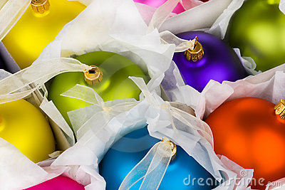 Boxed Christmas decorations baubles