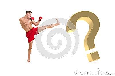 Boxeo del combatiente con el signo de interrogación del oro