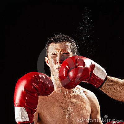 Boxer being hit