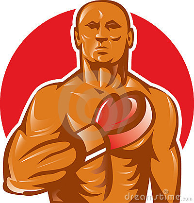 Boxer with boxing gloves hand