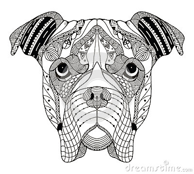 Free Boxer Dog Head Zentangle Stylized, Vector, Illustration, Freehand Pencil, Hand Drawn, Pattern. Zen Art. Ornate Vector. Lace. Royalty Free Stock Images - 66096449