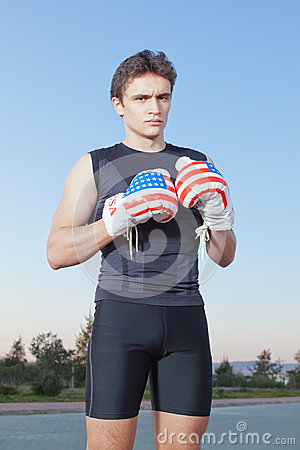 Boxer with gloves of the United States of America.