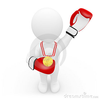 Boxer with gold medal