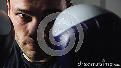 Boxer mit Boxhandschuhen und Frontkamera Männlicher Kämpfer in Boxhandschuhen, der auf der Suche nach Kamera ist Sportler stock video