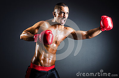 Boxer with red gloves