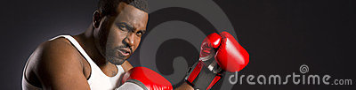 The Boxers Reach Mean Man Red Gloves