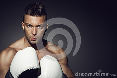 Boxer with white gloves