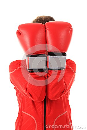 Boxer woman with red boxing gloves cover face isolated on white