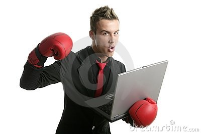 Boxer young businessman with laptop