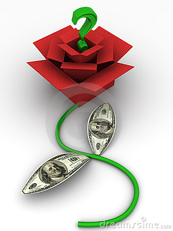 Boxes as rose with dollars. 3d