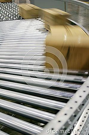 Boxes on a conveyor