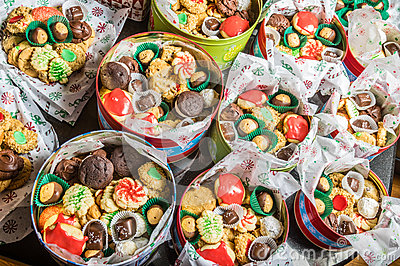 Boxes of fancy cookies for holiday stock images image 36306644