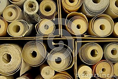 Boxes full of wallpaper rolls