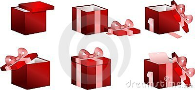 Boxes with gifts set