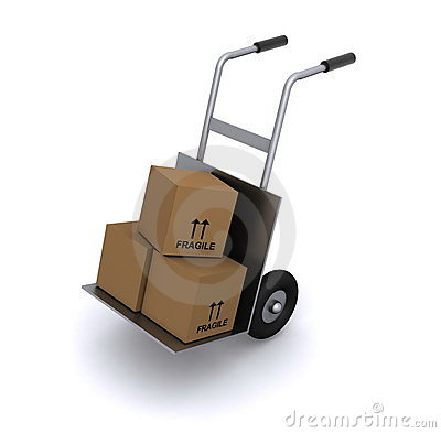 Boxes on hand truck