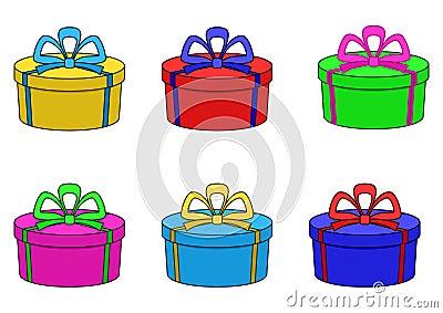 Boxes multi-coloured, round