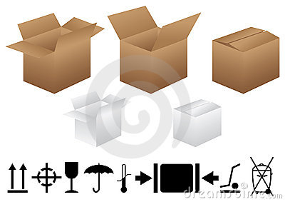 Boxes and packaging signs