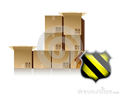 Boxes and shield illustration design