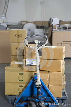 Boxes Stacked On Trolley