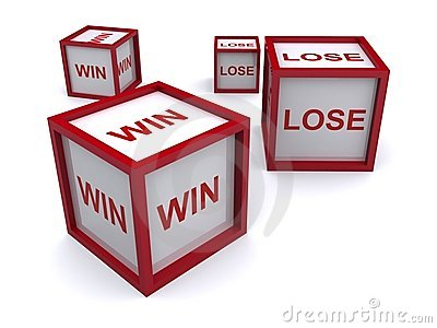 Boxes with win and lose