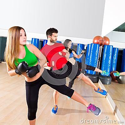 Boxing Aerobox Group Low Kick Training At Gym Stock Photo ...