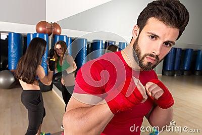 Boxing Aerobox Man Portrait In Fitness Gym Stock Photo ...