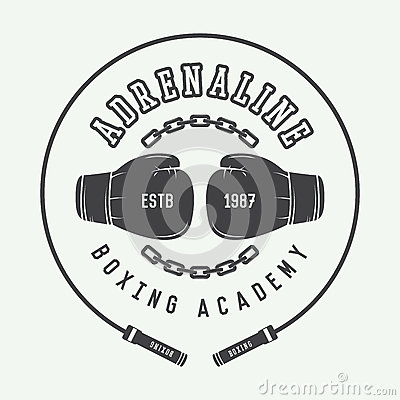 Free Boxing And Martial Arts Logo, Badge Or Label In Vintage Style. Stock Image - 57669061