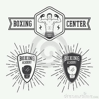 Free Boxing And Martial Arts Logo Badges And Labels In Vintage Style. Stock Images - 56238284