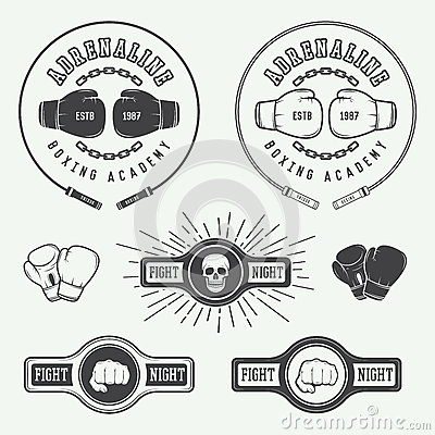 Free Boxing And Martial Arts Logo Badges And Labels In Vintage Style. Stock Photo - 56398700