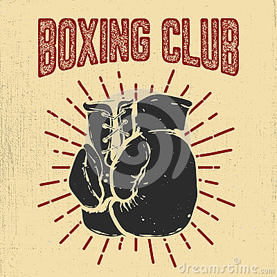 Free Boxing Club. Hand Drawn Boxing Gloves On Grunge Background Desig Stock Photos - 97293043