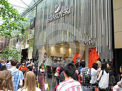 Boxing day sales at Swarovski store Editorial Stock Image